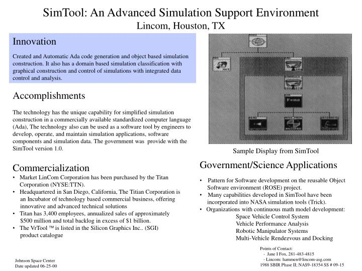 simtool an advanced simulation support environment lincom houston tx