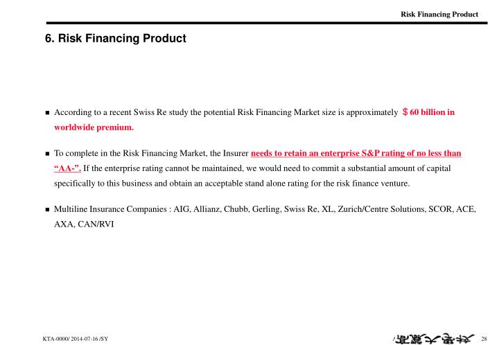 Risk Financing Product