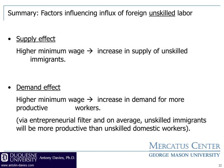 Summary: Factors influencing influx of foreign