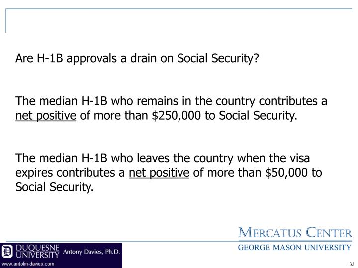 Are H-1B approvals a drain on Social Security?