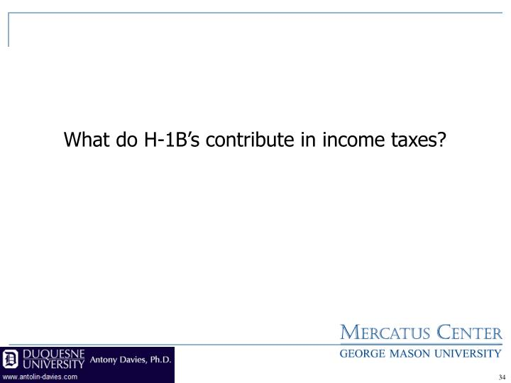 What do H-1B's contribute in income taxes?
