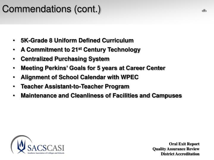 Commendations (cont.)