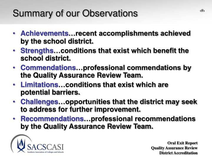 Summary of our Observations