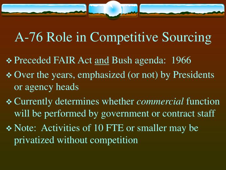 A-76 Role in Competitive Sourcing