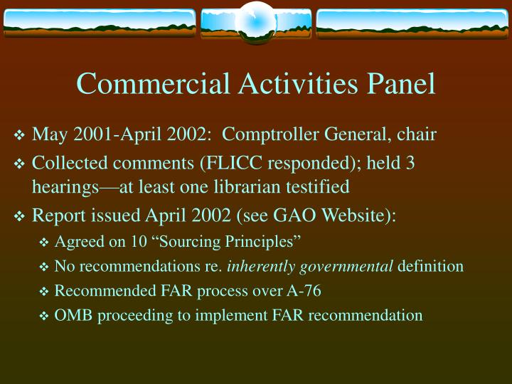 Commercial Activities Panel