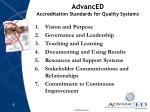 advanced accreditation standards for quality systems