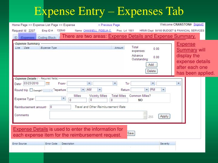 Expense Entry – Expenses Tab