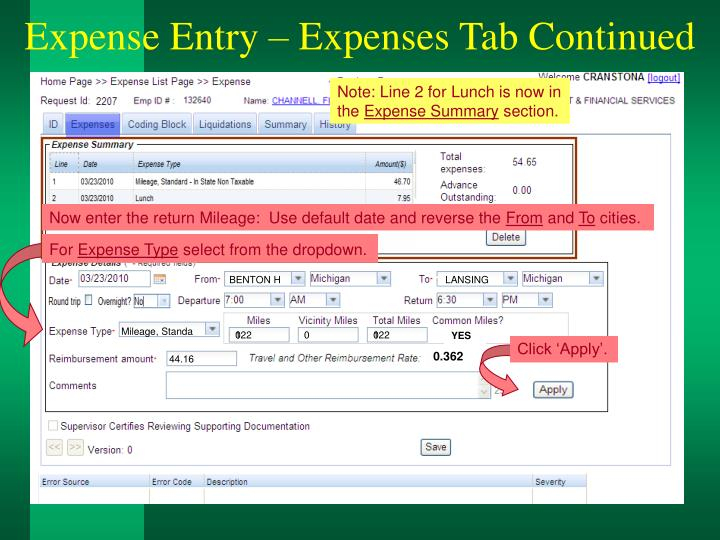 Expense Entry – Expenses Tab Continued