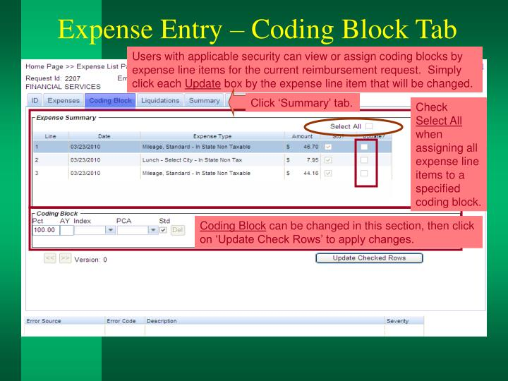 Expense Entry – Coding Block Tab