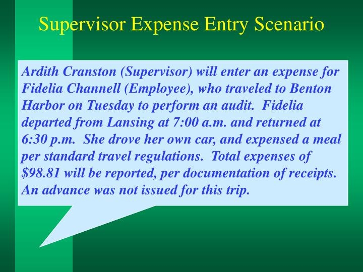 Supervisor Expense Entry Scenario