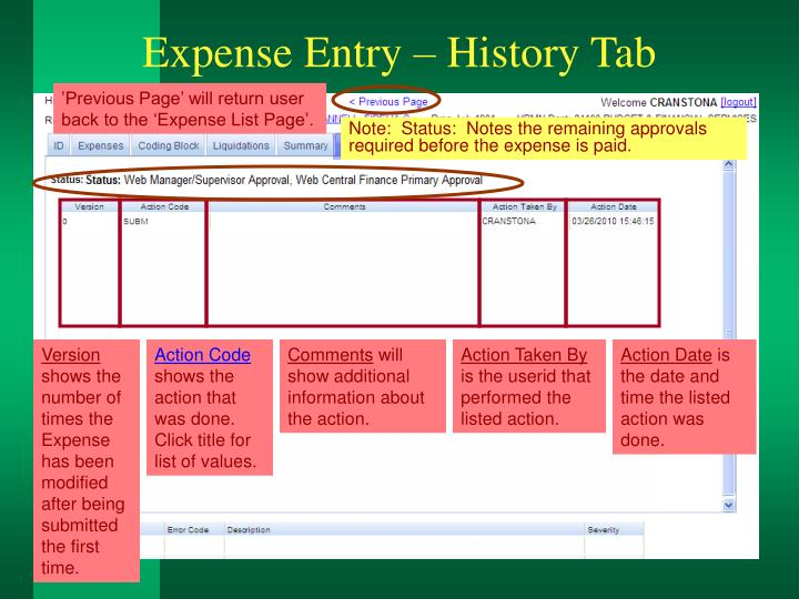 Expense Entry – History Tab