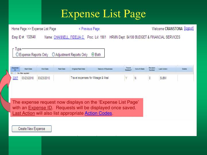 Expense List Page