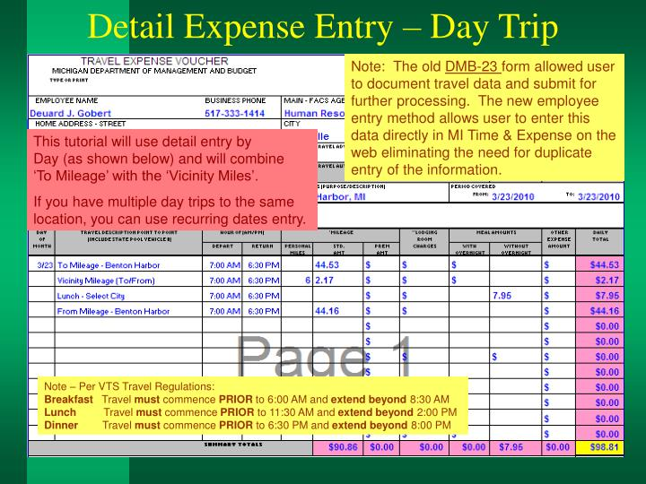 Detail Expense Entry – Day Trip