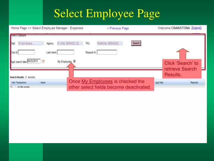 Select Employee Page