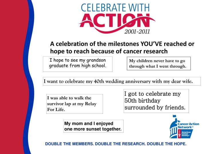 A celebration of the milestones YOU'VE reached or hope to reach because of cancer research