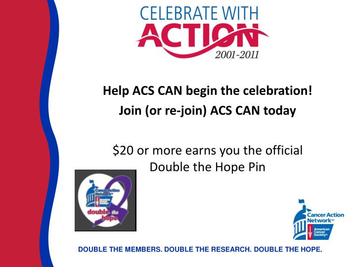 Help ACS CAN begin the celebration!