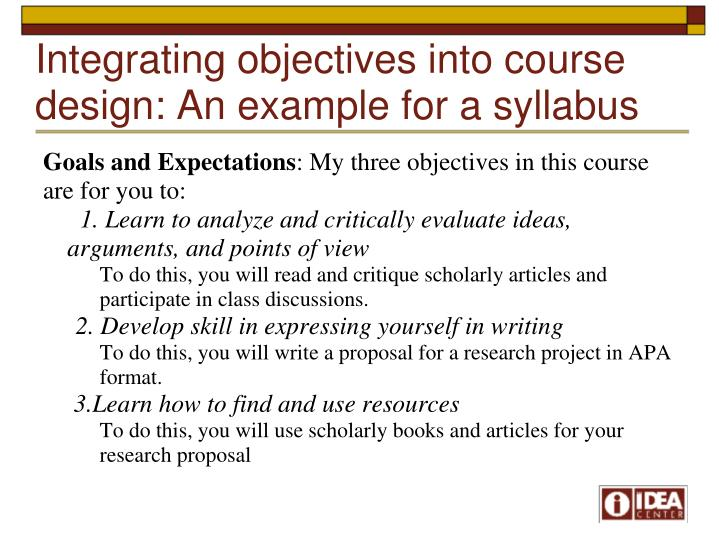 Integrating objectives into course design: An example for a syllabus
