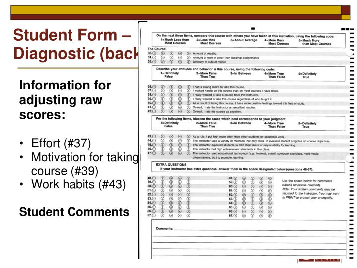 Student Form – Diagnostic (back)