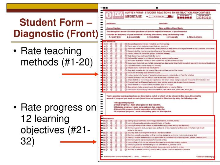Student Form – Diagnostic (Front)