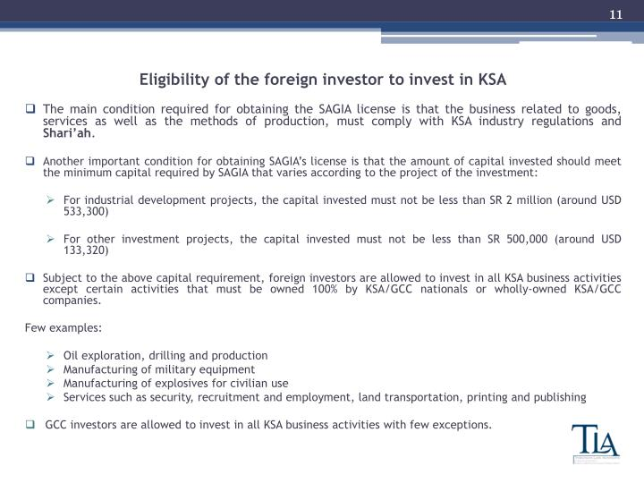Eligibility of the foreign investor