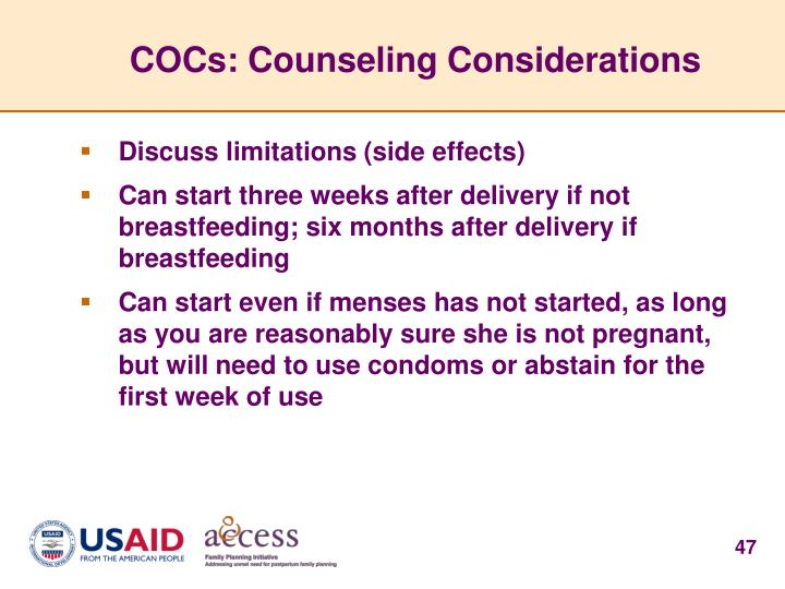 COCs: Counseling Considerations