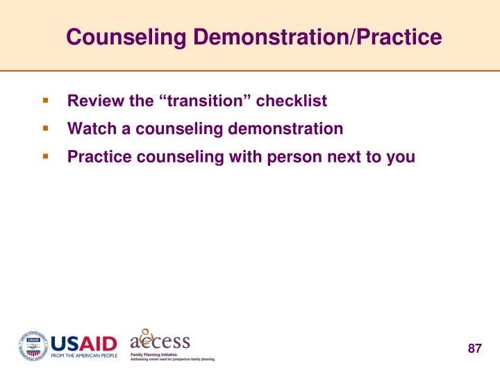 Counseling Demonstration/Practice
