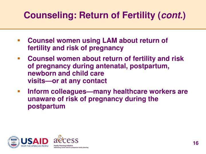 Counseling: Return of Fertility (