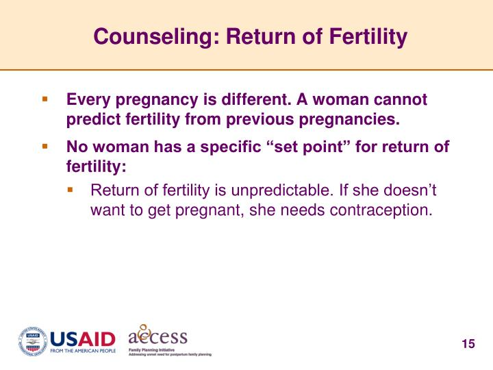 Counseling: Return of Fertility