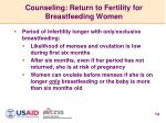 counseling return to fertility for breastfeeding women