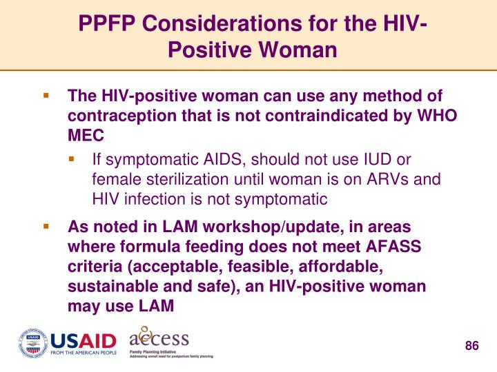 PPFP Considerations for the HIV-Positive Woman