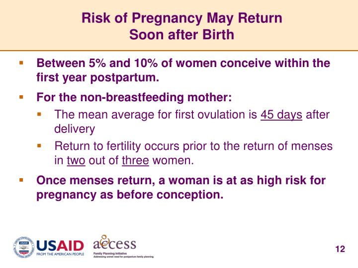 Risk of Pregnancy May Return