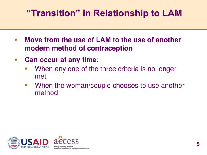 """Transition"" in Relationship to LAM"