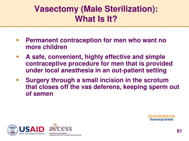 Vasectomy (Male Sterilization):