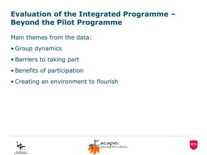 Evaluation of the Integrated Programme – Beyond the Pilot Programme