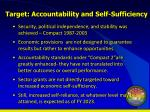 target accountability and self sufficiency