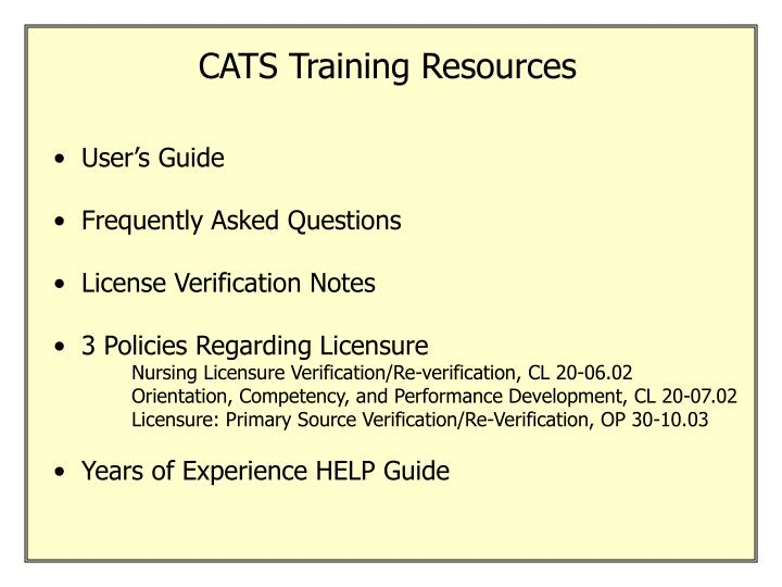 CATS Training Resources