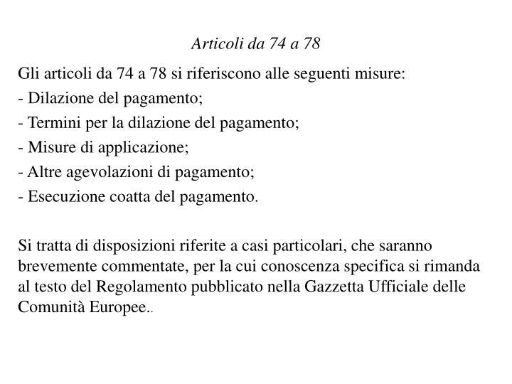 Articoli da 74 a 78