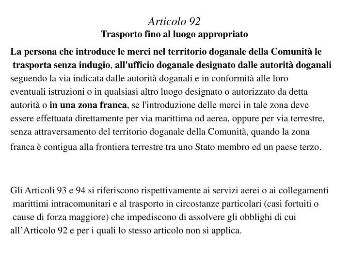 Articolo 92
