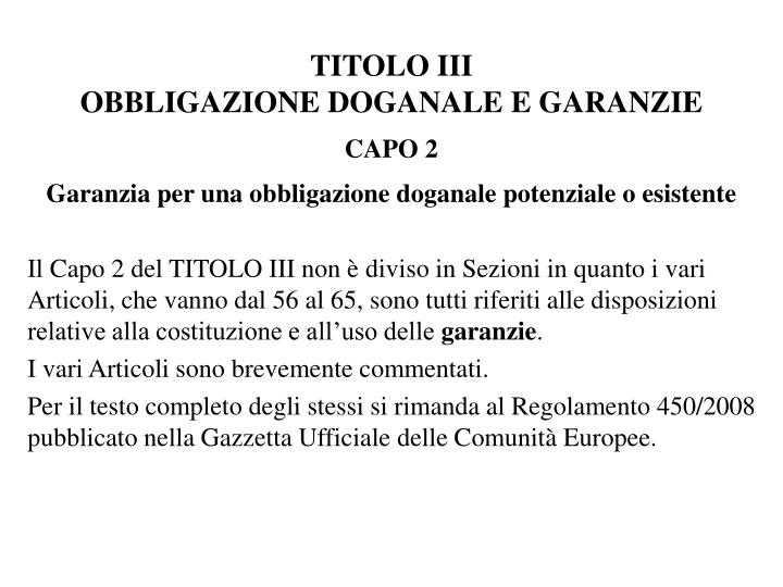 TITOLO III