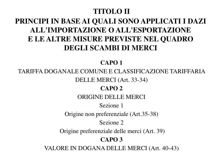 TITOLO II