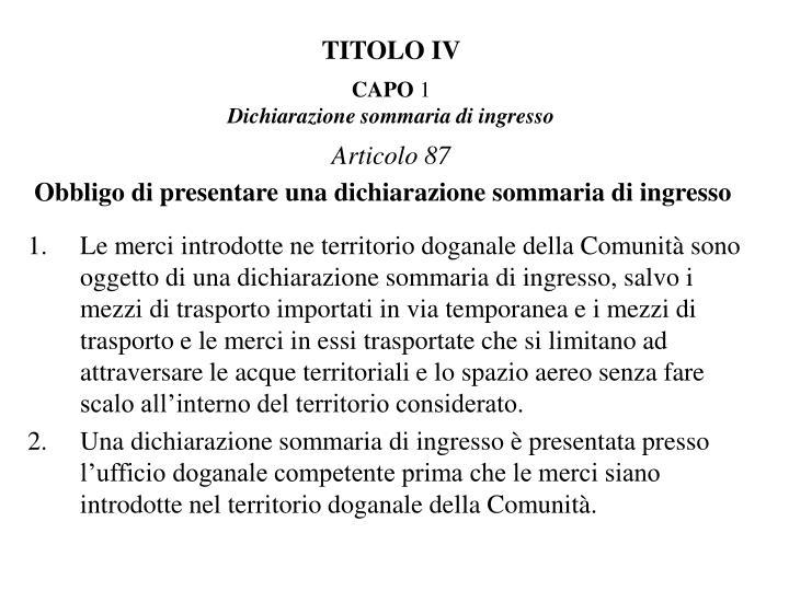 TITOLO IV