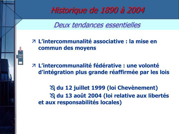 Historique de 1890 à 2004