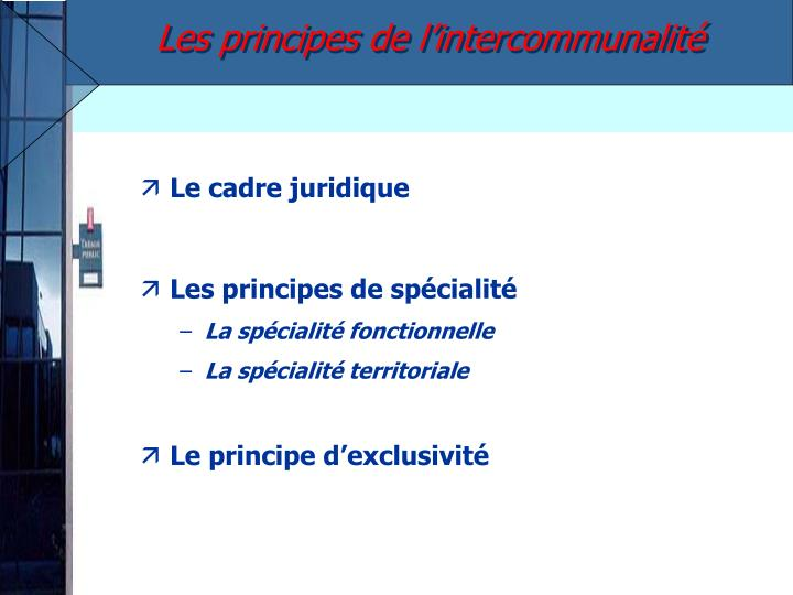 Les principes de l'intercommunalité