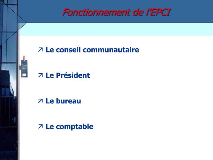 Fonctionnement de l'EPCI