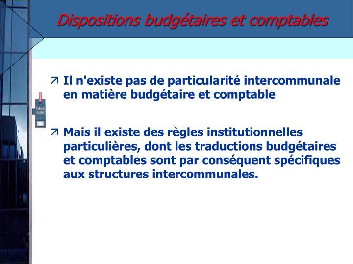 Dispositions budgétaires et comptables