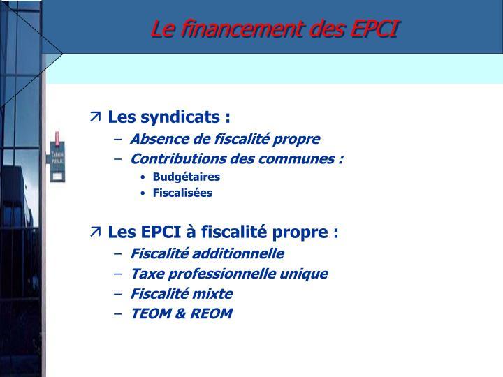 Le financement des EPCI