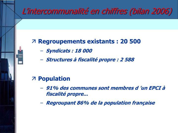 L'intercommunalité en chiffres (bilan 2006)