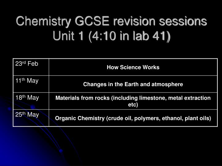 Chemistry GCSE revision sessions Unit 1 (4:10 in lab 41)