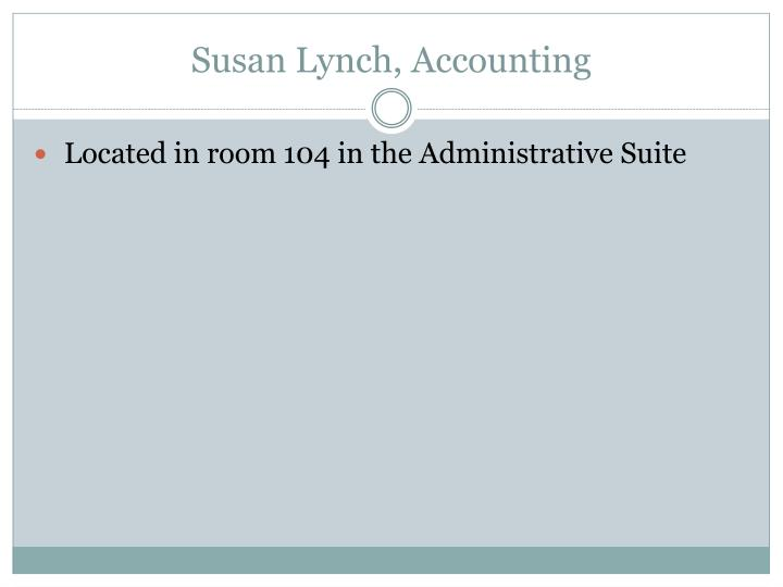 Susan Lynch, Accounting