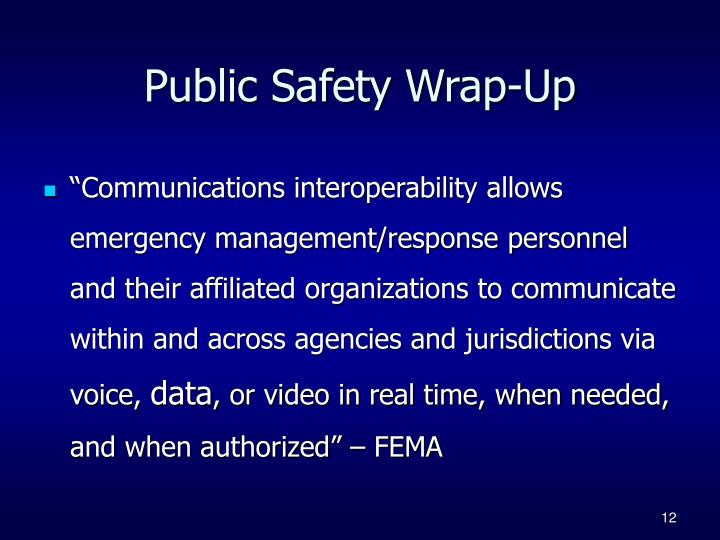Public Safety Wrap-Up